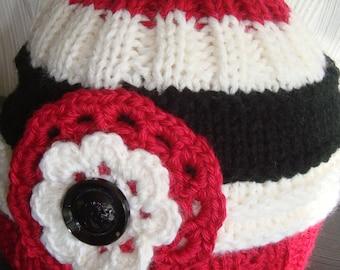 Children's beanie, knit cap, women's cap, Slouchy beanie, winter cap, girl cap Heart