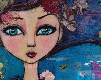 Mixed Media Painting with Girl and Flowers Art Print