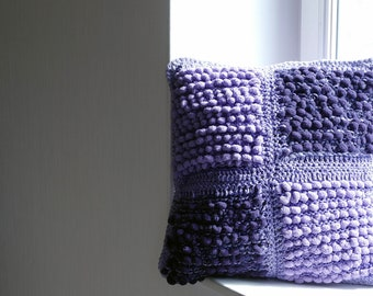 Handmade Purple knit cushion/Throw Pillow/Pillow included/45x45cm/Pillow for girls/Pillow for babies/Kid Pillow/Decorative wool Pillow