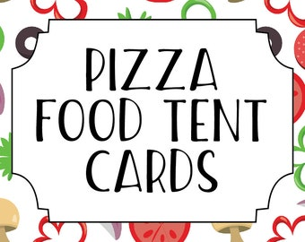 Pizza Making Party Printable Food Tent Label Cards Buffet Cards Printable Pizza Party Food Tent Cards Instant Download Digital Download