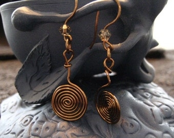 Vintage Bronze Swirls and Swarovski Crystal Earrings