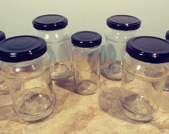 7 Pc Clear Glass Jars with Matching Black Metal Lids/Caps Wide Mouth Multi Purpose Reusable Stash Jam Jelly Kitchenware Houseware Collection