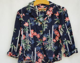 Vintage 90s Floral And Bamboo Print Cropped Rayon Blouse