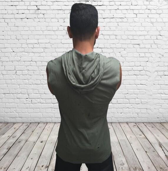 HIKERU white sleeveless mens hoodie, Loose comfy urban wear, Lightweight hooded shirt, Cowl neck tank hoodie, Cool festival hoodie