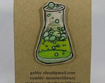 Erlenmeyer Flask Pin / Limited Edition Hand Drawn & Handmade (Polystyrene) Miniature Art