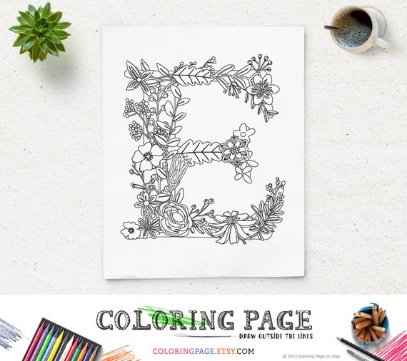 sale coloring pages home printable alphabets coloring letters adult coloring book printable instant download digital coloring page download - Letter E Coloring Pages