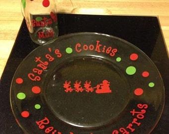 Santa's Cookies plate with Santa's milk glass