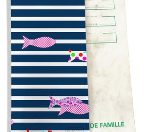 Protects family pattern colorful fish sailor Navy P2356 REF.