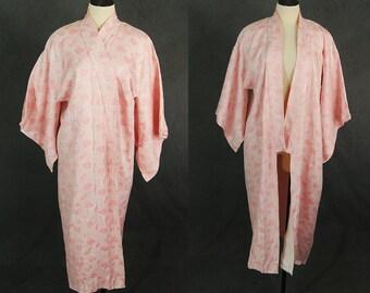 vintage 60s Kimono - 1960s Pink and Metallic Silver Kimono Floral Kimono Robe Sz S M L