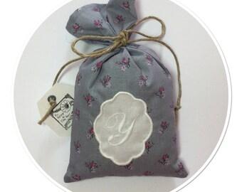 "Printed cotton Lavender sachet with Monogram Letter ""Y"""