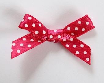 10 x 7mm Satin ribbon bow: Rose Fuchsia - 001071