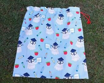 Large library bag, school teacher owls aqua blue cotton drawstring bag