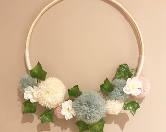 Pom Pom Wreath Wall Hanging Decoration