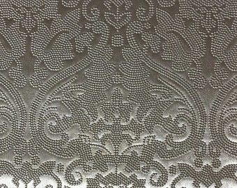 Vinyl Upholstery Fabric - Lyon - Silver - Damask Designer Pattern Vinyl Home Decor Upholstery Fabric by the Yard - Available in 8 Colors