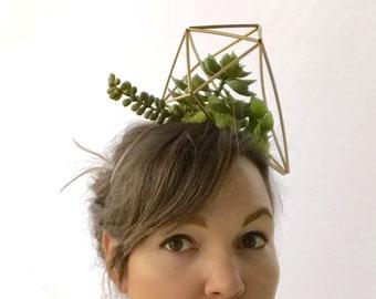 Succulent terrarium fascinator