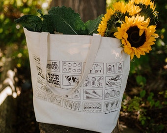 Support Your Local Farmer Eco-Friendly Market Tote / Reusable Grocery Bag