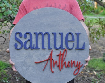 """Personalized Round Wood Sign - 24"""" Diameter - Nursery Sign - Wooden Sign - Baby Gift - Shower - Children's Room Decor"""