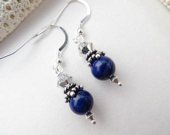 Lapis Lazuli Earrings, Cobalt Blue Lapis Earrings Sterling Silver Earrings Swarovski Crystal Earrings Semi Precious Gemstone Silver Earrings