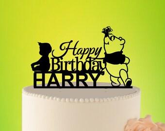 Kids Birthday Cake Topper Cartoon, Cake Topper Kids Winnie The Pooh Cartoon Topper Birthday Party Decor Kids Birthday Decor Winnie L2-02-007