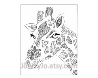 Giraffe Printable Zentangle Inspired Coloring Page, Zendoodle Page 43