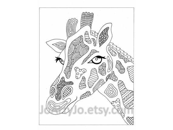 Giraffe Printable Zentangle Inspired Coloring Page Zendoodle