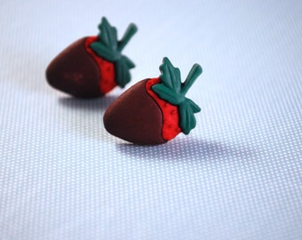 Chocolate Strawberry Earrings -- Chocolate Earrings, Chocolate Studs, Witty Earrings