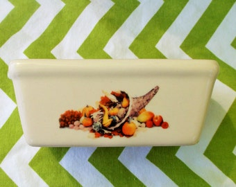 Thanksgiving Butter Dish * Ceramic Horn of Plenty Pumpkins Goards Butter Container * Fall Theme * Microwave and Dishwasher Safe Ceramic