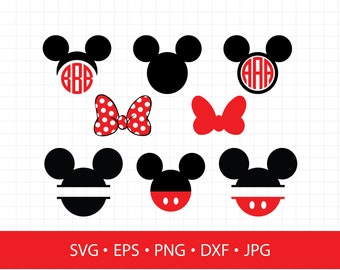 Mickey and Minnie Head Bow LAYERED SVG DXF Eps Vector Cuttable File Cricut Cameo Silhouette Vinyl Cut File