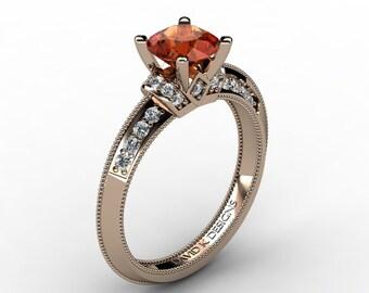 Classic 14K Rose Gold 1.0 Ct Orange Sapphire Diamond Solitaire Engagement Ring R1126-14KRGDOS