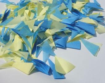 PUFFetti Triangle Scrap Handmade Recycled CONFETTI Birthday (1) Favor Bag Sample Baby Blue & Lemon Yellow Blue Theme Handmade by DORANA