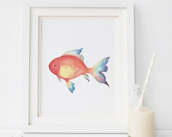 SALE Coral Fish Wall Art, DIGITAL Print, Fish Decor, Coral Fish Print, Fish Wall Print, Watercolor fish, fish Wall Print, Ocean Nursery room