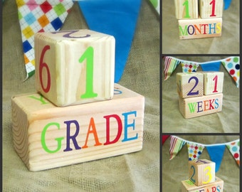 Natural Wooden Pregnancy and Baby Age Blocks - Photo Prop - 0 - 43 Weeks, Months, Years and Grade