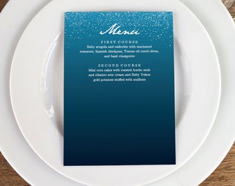 Printable Menu Template - Night Sky  - Wedding Menu - Navy Blue Menu -  Printable Menu Template - Menu Template - Menu Cards - Menu Card PDF