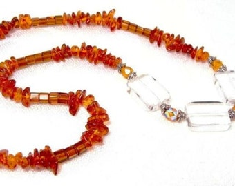 Amber Chip Stone Necklace with Golden Clear Glass, Semi-precious Jewelry
