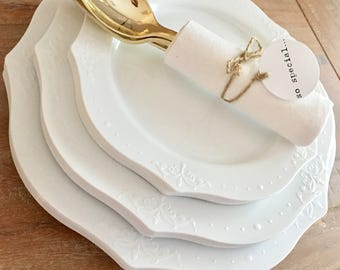 Timeless Chandelier Plate Collection. Modern Vintage White Party Plates. Disposable Wedding Plates. Disposable & Midnight Soiree Luxe Collection. Midnight Blue \u0026 Gold Party