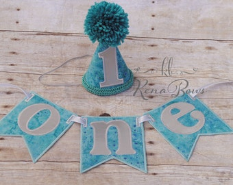 1st Birthday Banner, 1st Birthday Hat, Blue, Silver, Baby Boy, First Birthday High Chair Banner