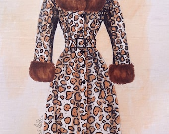 Fashion illustration.Leopard print.Fashion art.Art for girls.Gifts for her.Art for women.Fashion painting.leopard decor.Vintage fashion art