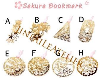 Golden Sakura Bookmark Cherry Blossom Bookmark Carved Flower Bookmark Metal Stencil Filofax Book Accessories Bullet Journal Stationery