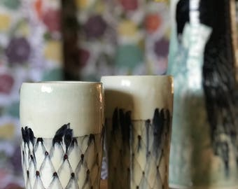 Tumbler Pottery Cup Water Glass Ceramic Cup Cup Lattice Birds