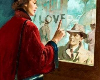 12x18  Sale I LOVE YOU  1940s Retro Romance love story cover illustration Romantic Pinup Vintage Dress Hat