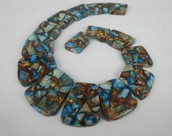 Full Strand Dark Imperial Jasper, Sea Sediment Jasper Faceted Unique Stone Pendant Beads, Flat Slab Nugget Freeform Top Drilled Loose Beads