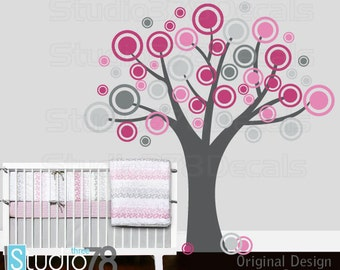 Pink and Grey Vinyl Tree Decal | Childrens Nursery Wall Decor | Circles | Pink Polka Dots | Baby Girl Decor | Kids Vinyl Wall Decor | 78x78