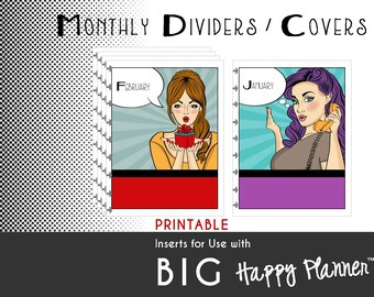 BIG Happy Planner Dividers / Covers [PDF]  Create 365 | mambi | Me & My Big Ideas |   Pop-Art Prints - PRINTABLE - 8.5 x 11