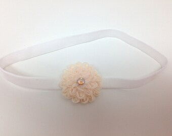 Flower Baby Headband with Swarovksi Crystal, Baby girl Headband, Headband, Soft Headband, Flower Headband, Photo Prop, Baby girl, Birthday