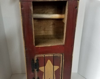 "Primitive  Country Wood 24"" Toilet Paper Cabinet Holder"