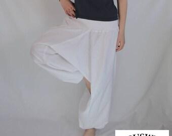 Plain Harem Pant Cotton White