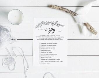 I Spy Wedding Game | Printable Wedding Game | Printable Cards | Wedding Game Cards | Laurel Wedding Games | Kids Wedding Game