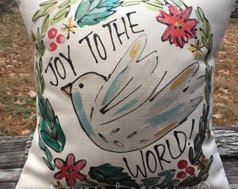 Joy To The World original artwork throw pillow