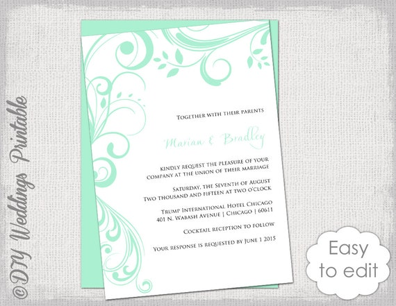 Wedding Invitation Template Scroll Printable - Wedding invitation templates: wedding invitation downloadable templates