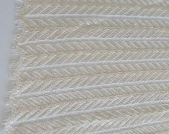 Ivory Lace Fabric by the 1/2 yard, Horizontal Geometric Patterned Ivory Lace